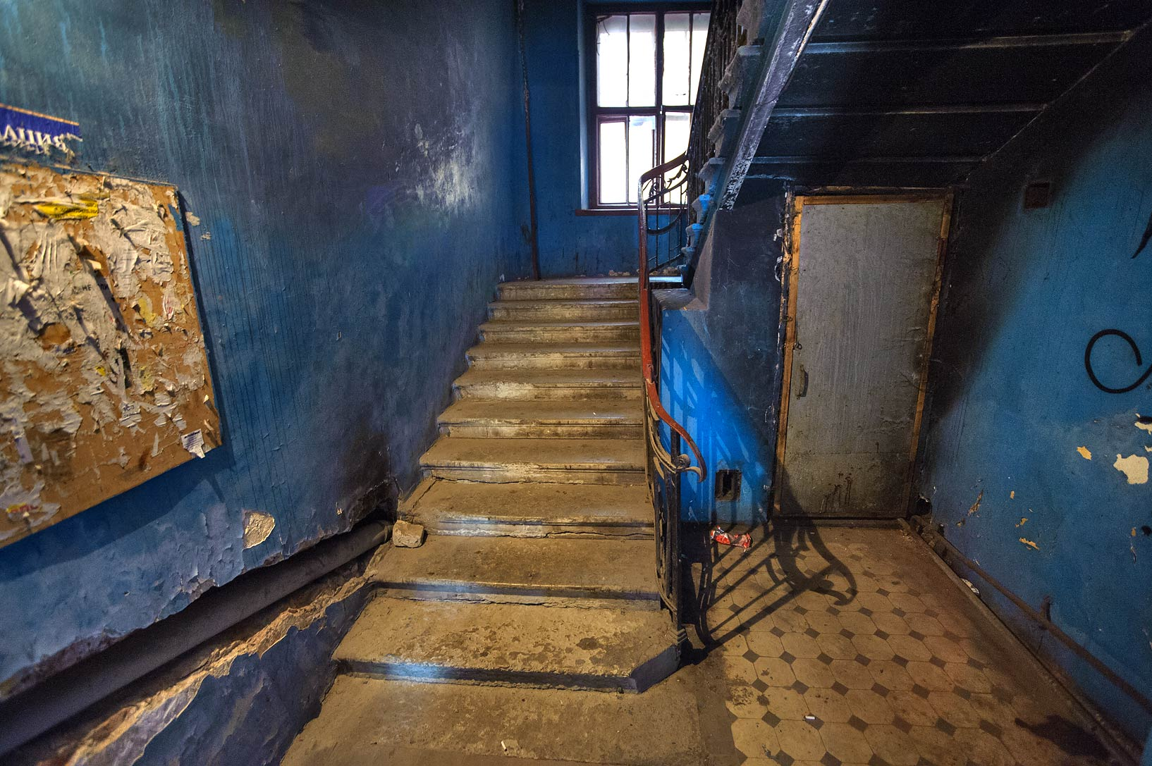 Blue staircase near Novaya Gollandiya (New Holland). St.Petersburg, Russia