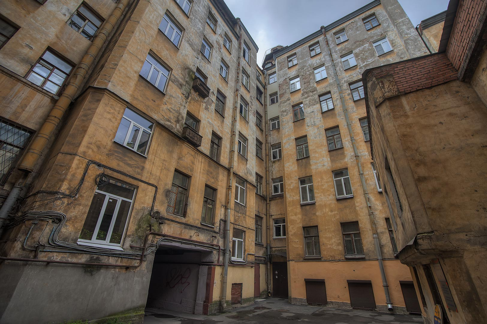 Courtyard in Sementsy area near Vitebsky Train Station. Petersburg, Russia