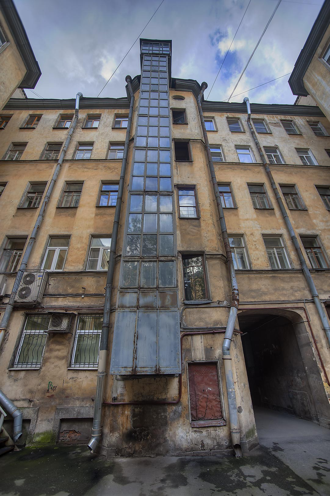 House with elevator in Sementsy area near Vitebsky Train Station. Petersburg, Russia