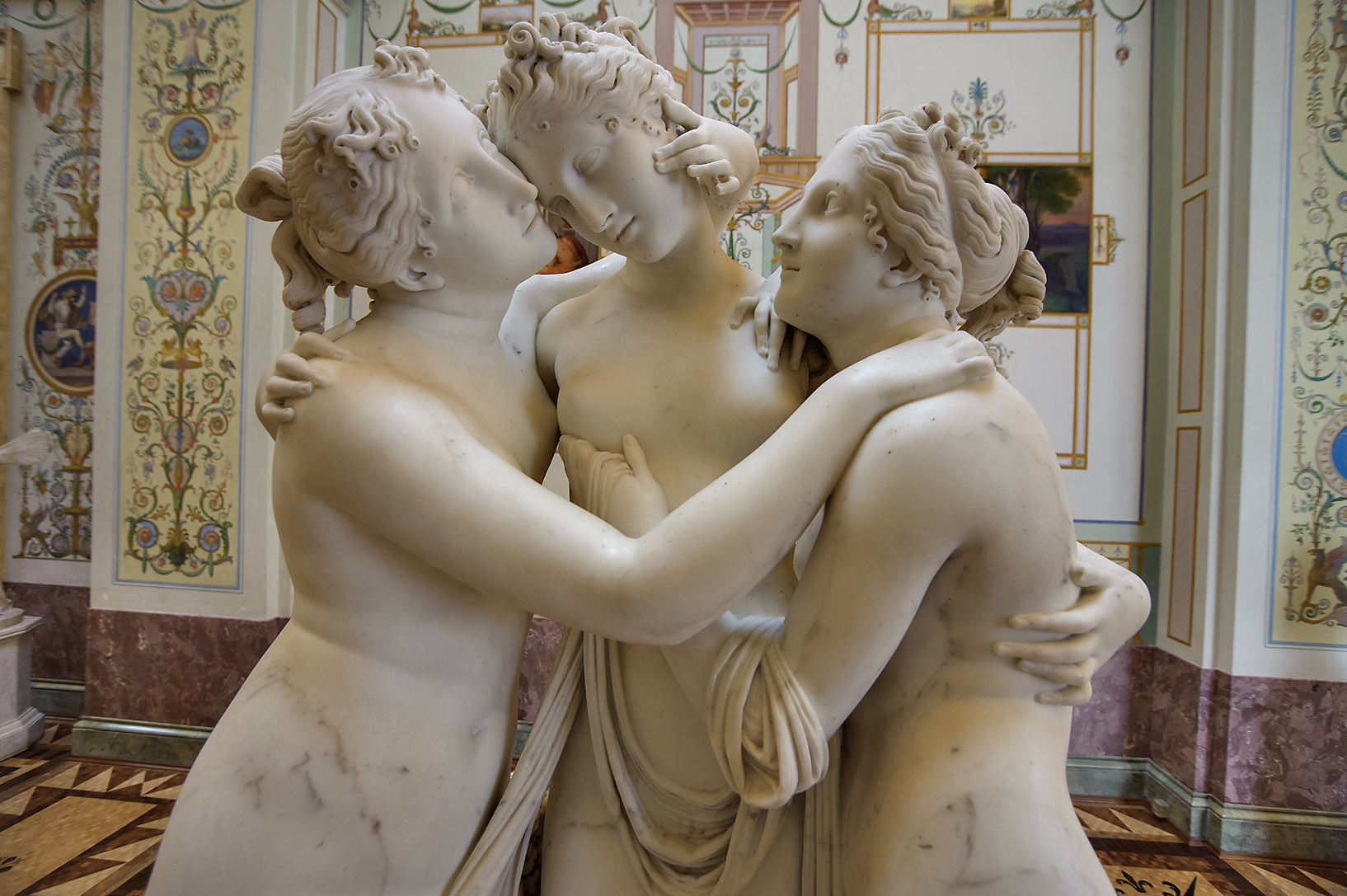 A marble sculpture of three women in Gallery of...Hermitage Museum. Petersburg, Russia