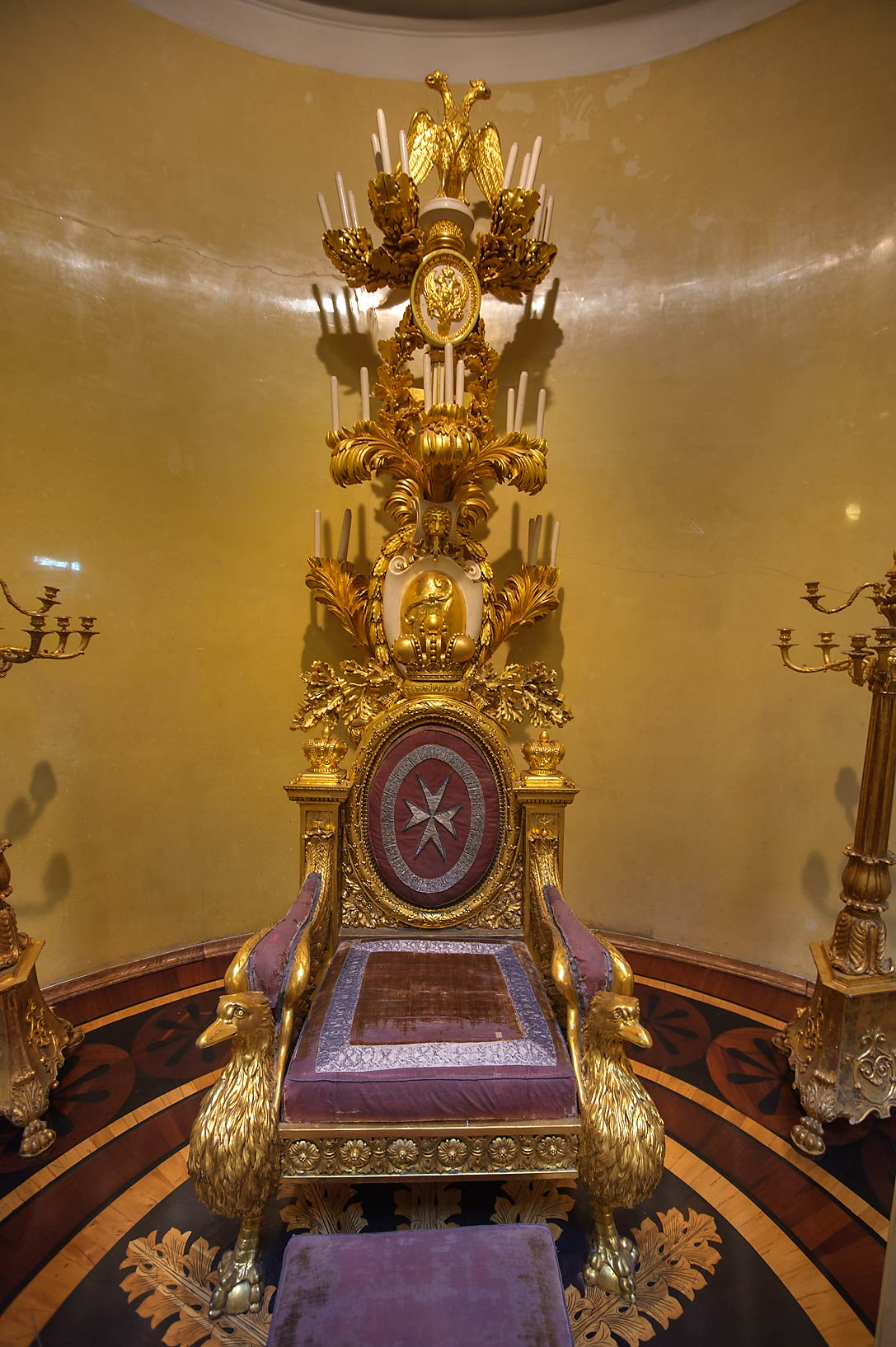 Small throne in Hermitage Museum. Petersburg, Russia