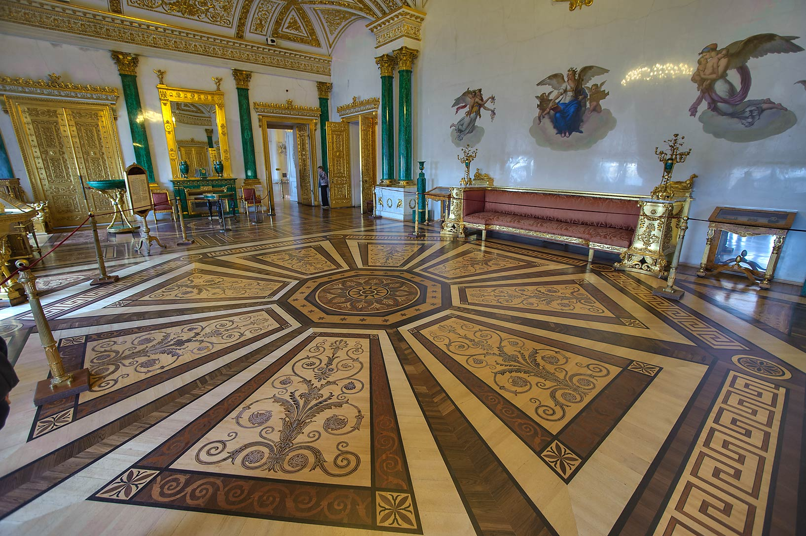 Malachite Room in Hermitage Museum. Petersburg, Russia