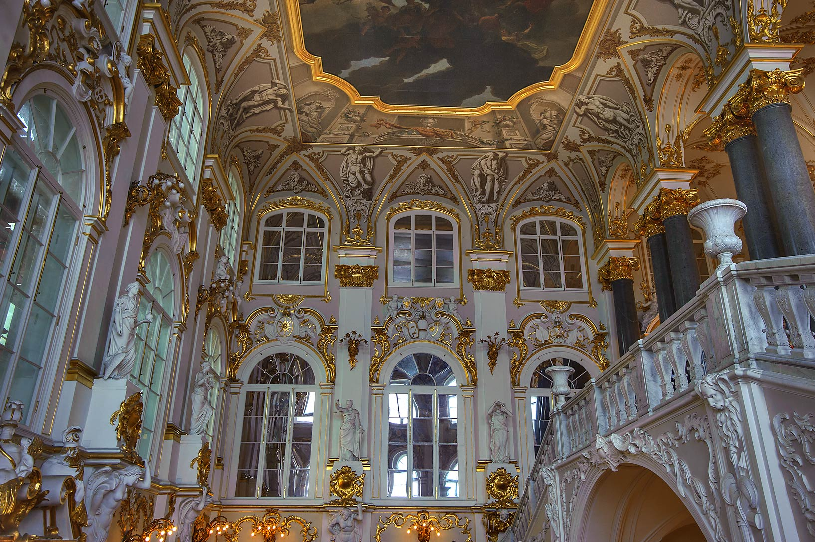 Grand staircase in Hermitage Museum. Petersburg, Russia