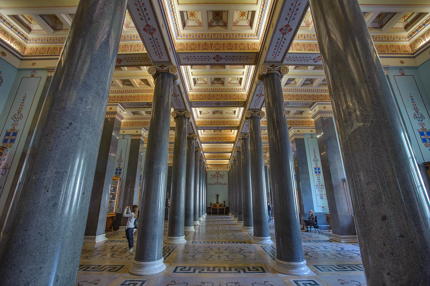 Hall of Twenty Columns (ancient art) in Hermitage Museum. Petersburg, Russia