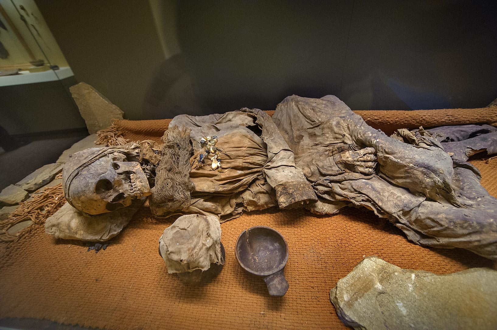 Mummy of a tribe leader in basement in Hermitage Museum. Petersburg, Russia