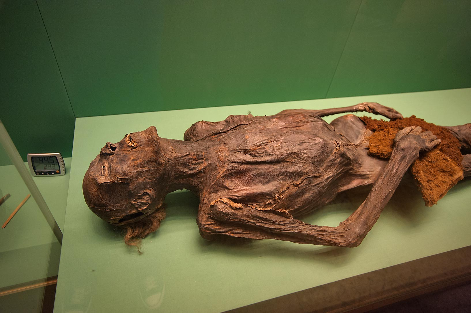 Ancient mummy in basement in Hermitage Museum. Petersburg, Russia