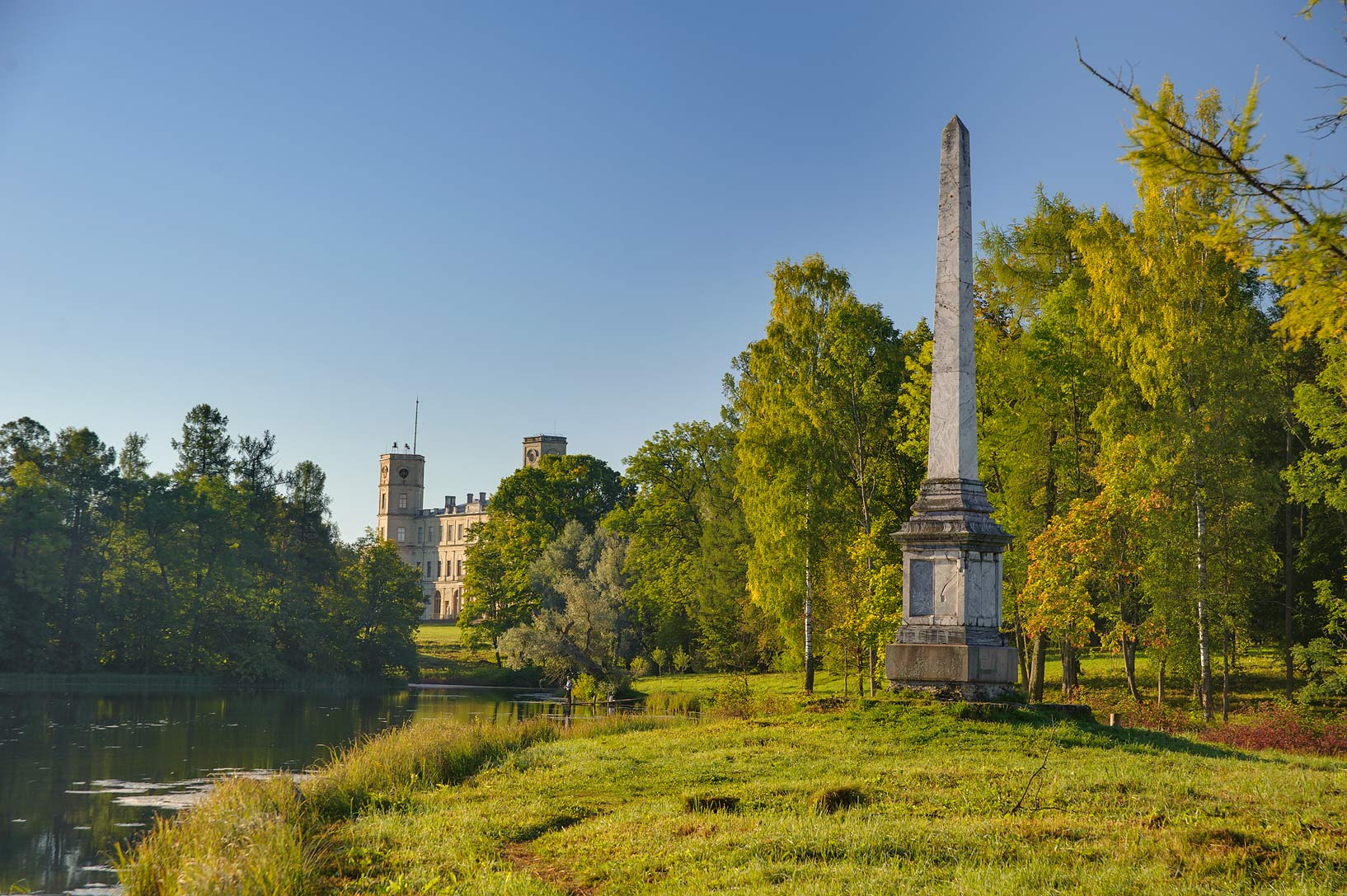 Chesma memorial column in Gatchina Park. Gatchina, a suburb of St.Petersburg, Russia