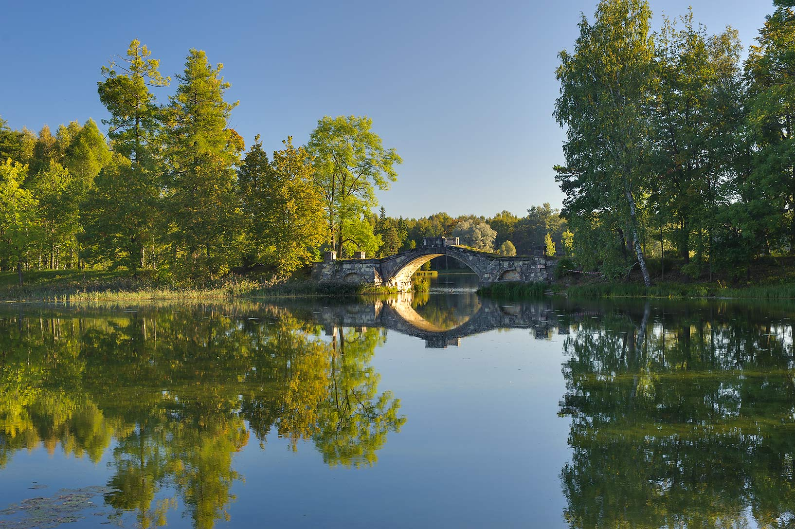 Humpbacked Bridge in Beloe Lake in Gatchina Park...a suburb of St.Petersburg, Russia