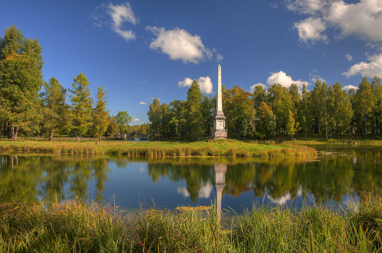 Reflection of Chesma Monument in Beloe Lake in...a suburb of St.Petersburg, Russia