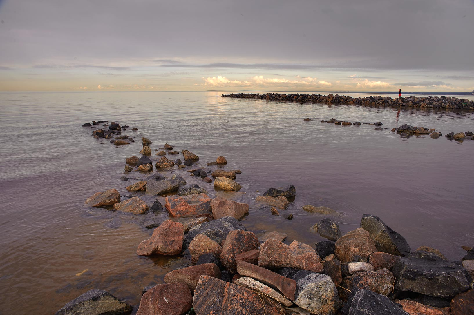Stone pier in Gulf of Finland south from Solnechnoe, west from St.Petersburg. Russia