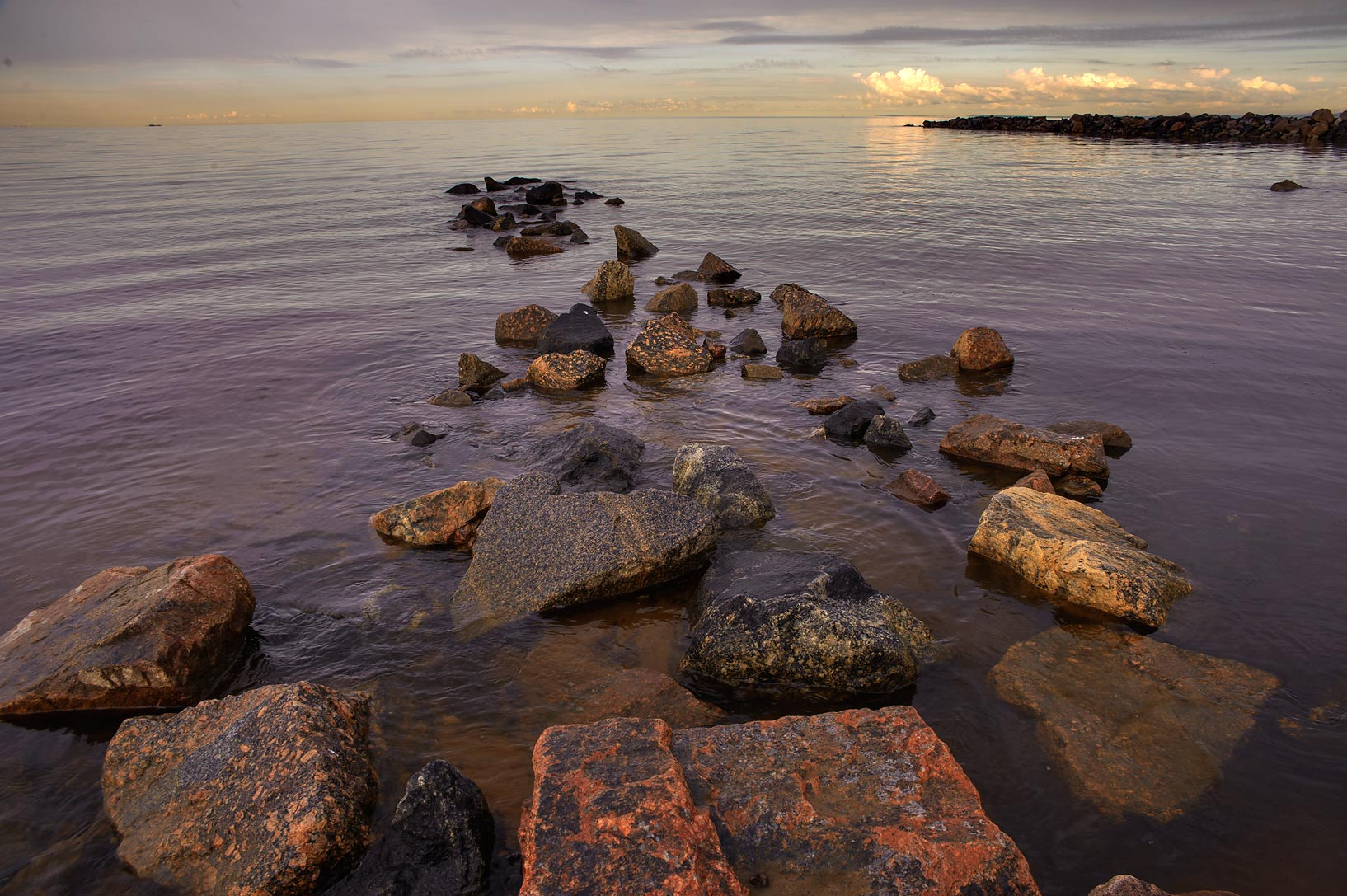Stone strip in Gulf of Finland south from Solnechnoe, west from St.Petersburg. Russia