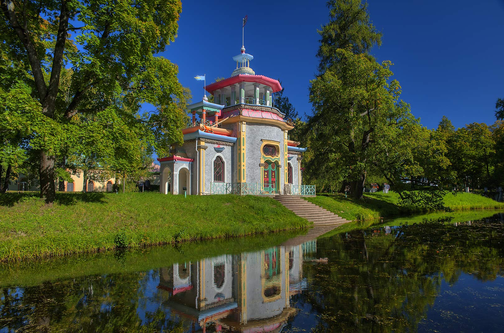 Creaking or Chinese Summer-House (pagoda) in...a suburb of St.Petersburg. Russia