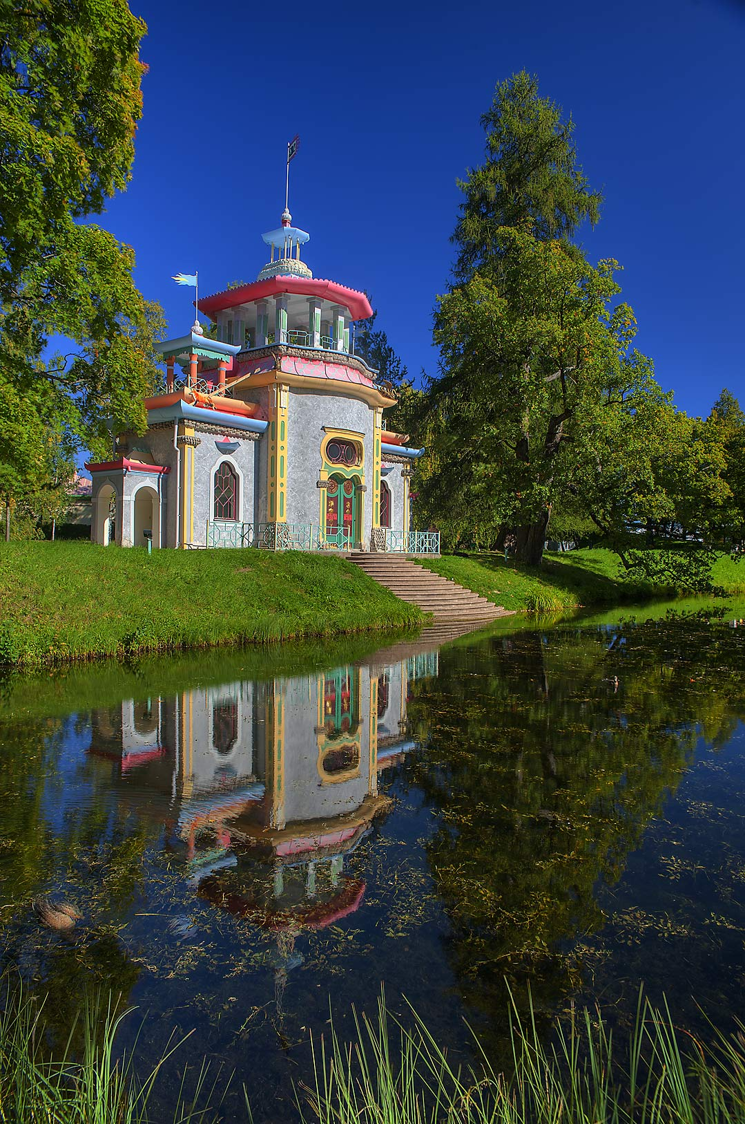 Reflection of Creaking or Chinese Summer-House...a suburb of St.Petersburg. Russia
