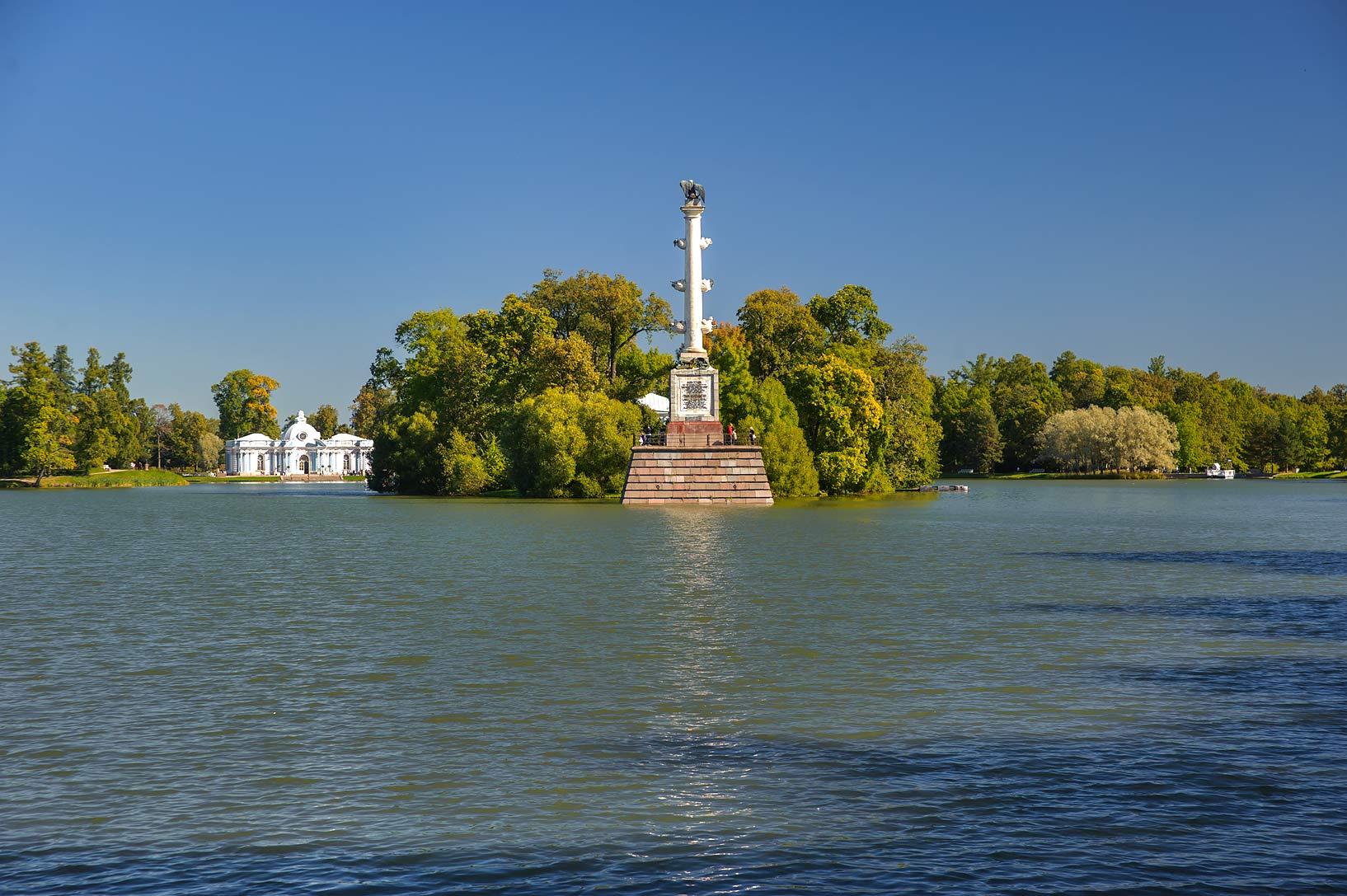 Chesme Column on an island of Great Pond in...a suburb of St.Petersburg. Russia