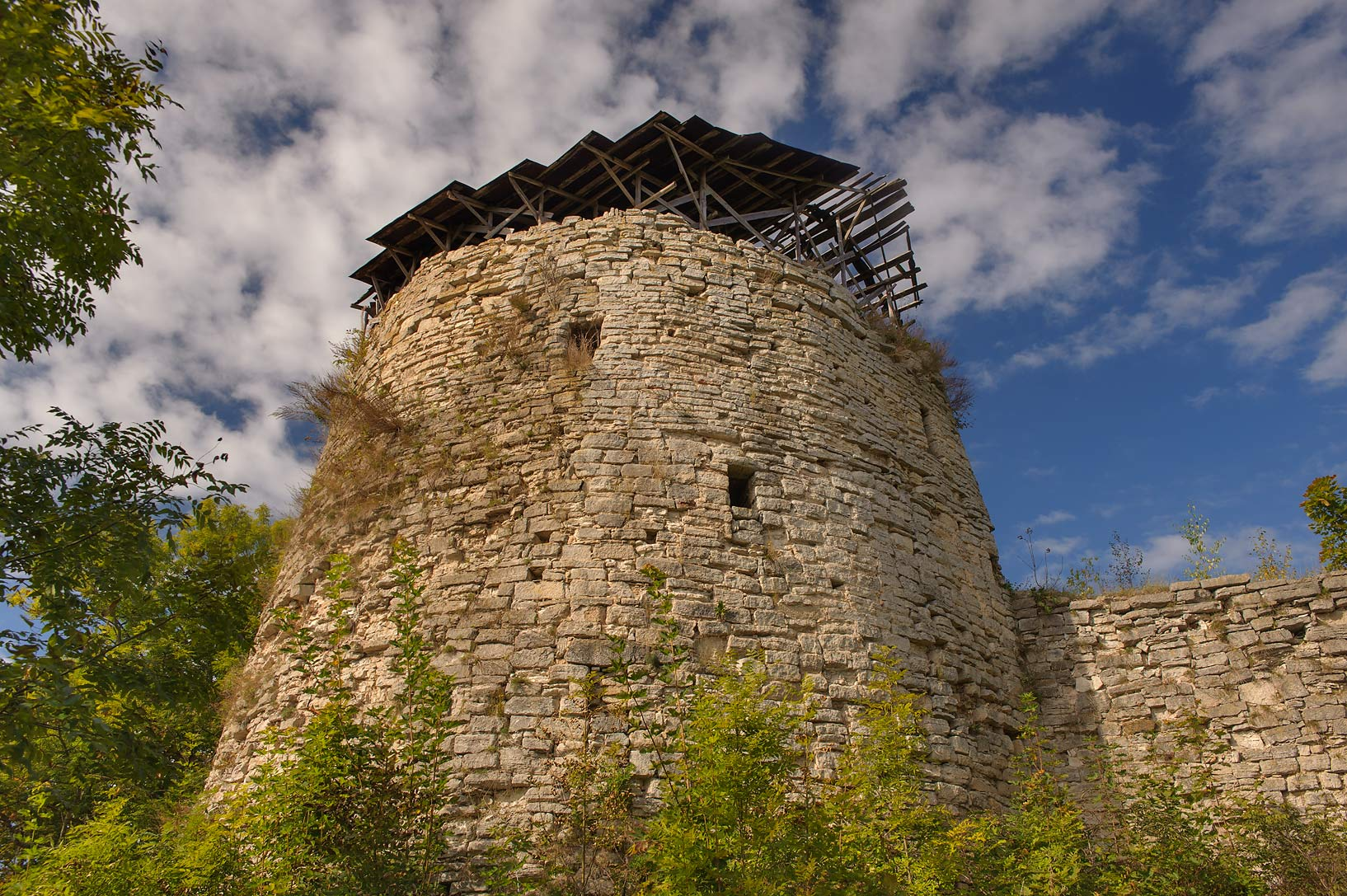 Middle Tower of Porkhov Fortress in Porkhov, Pskov Region. Russia