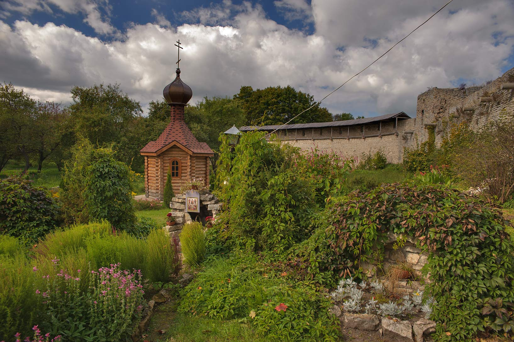 Church garden in Porkhov Fortress in Porkhov, Pskov Region. Russia