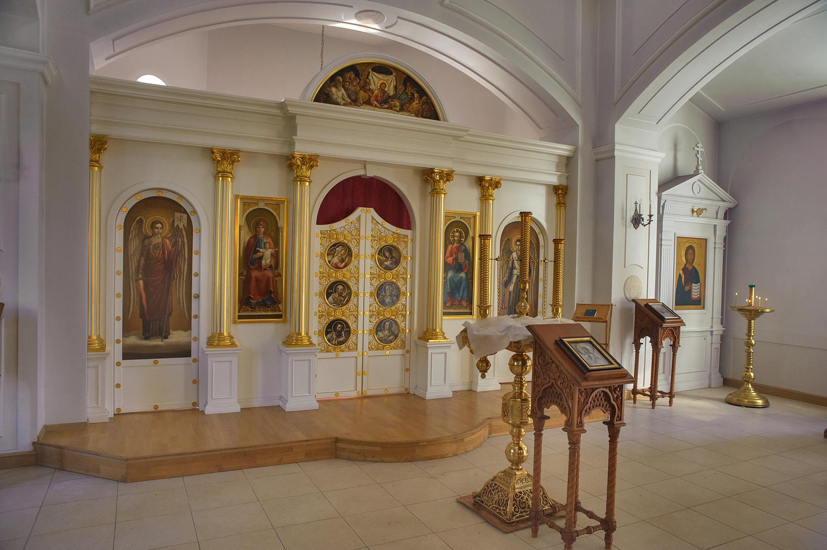 Interior of Church of Uspeniya Presviatoy...Cemetery near St.Petersburg. Russia