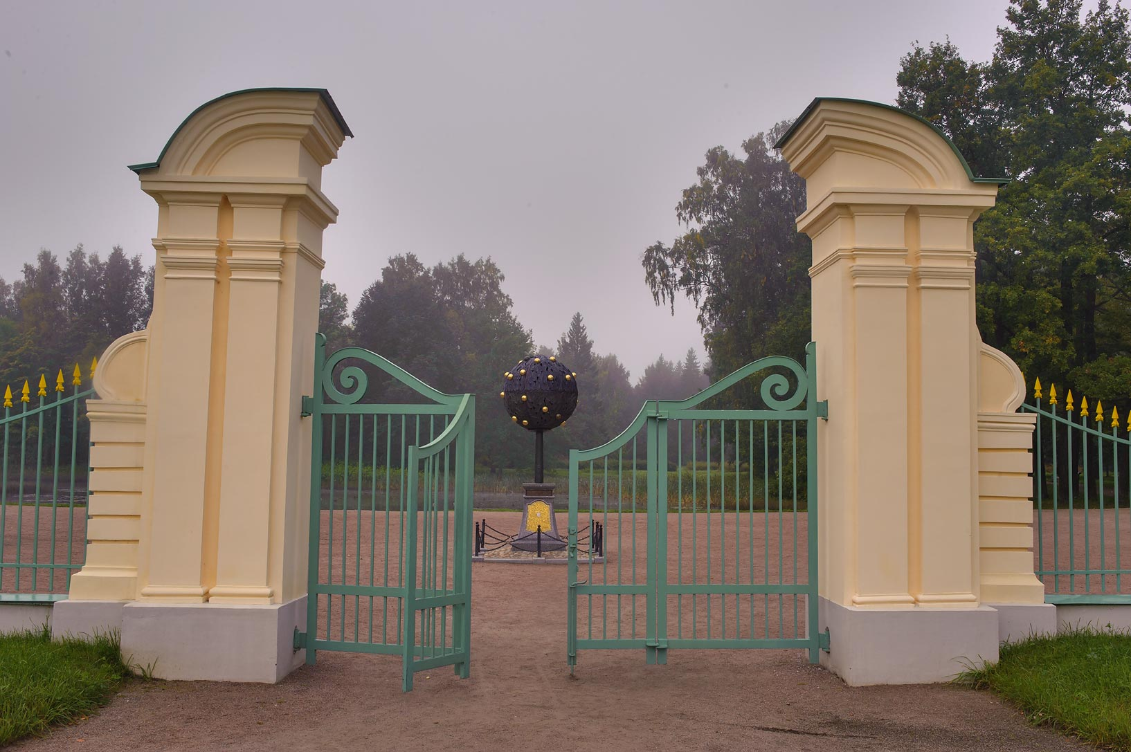 Gate of backyard of Great (Menshikov's) Palace in...West from St.Petersburg, Russia