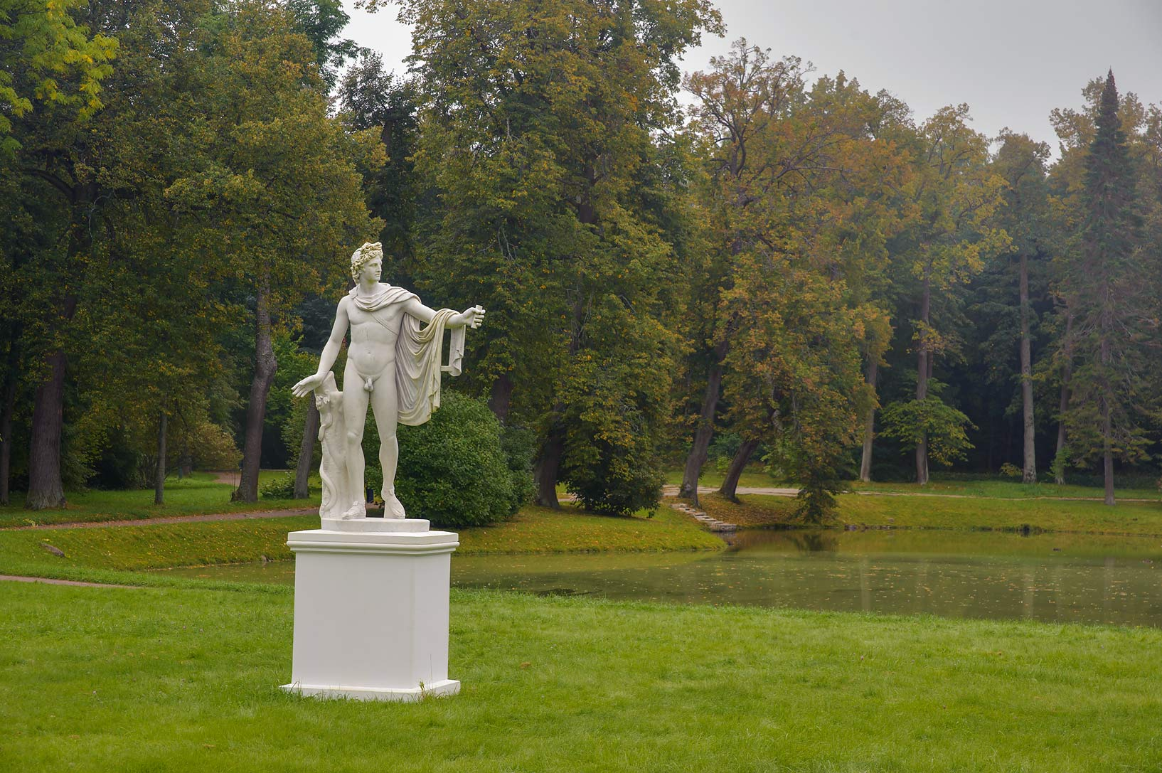 Replica of a statue of Apollo near Chinese Palace...West from St.Petersburg, Russia