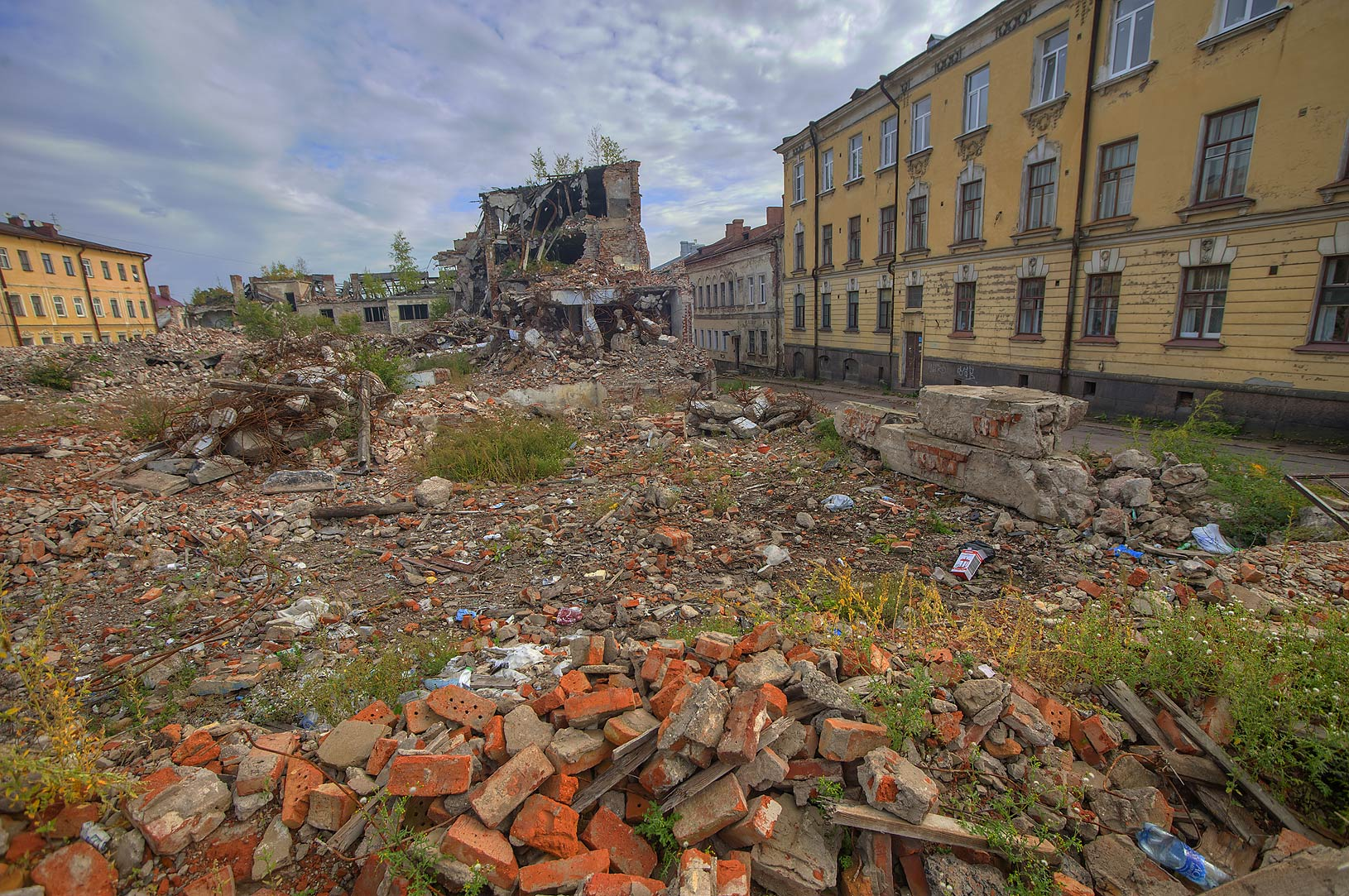 Old city quarter between Krasnoarmeyskaya and...under restoration). Vyborg, Russia