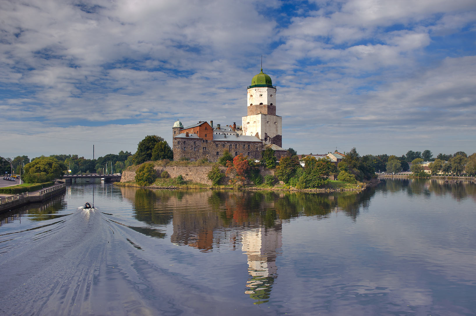 Vyborg Castle from a bridge of Petrovskaya Naberezhnaya to the east. Vyborg, Russia