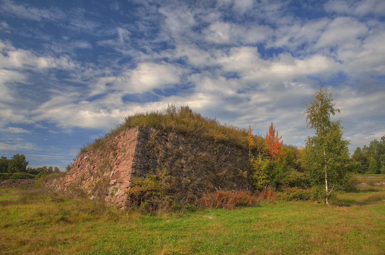 Old fortifications behind Vyborg Castle. Vyborg, Russia