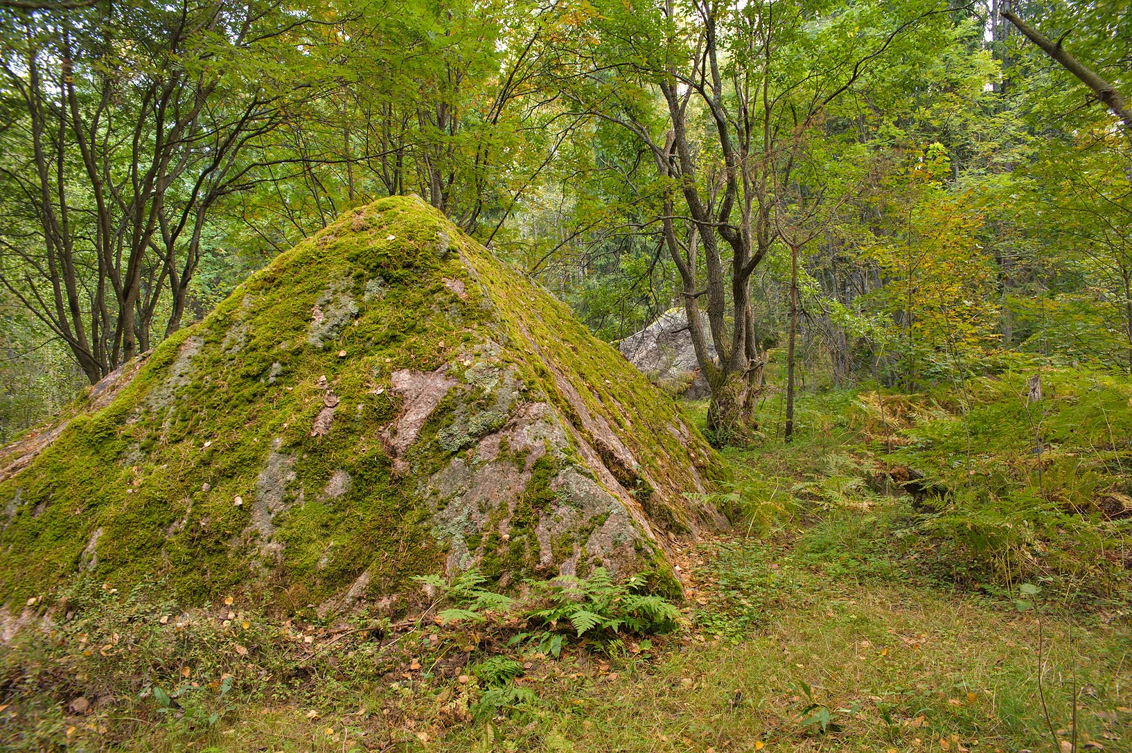 Mossy granite pyramid in north-west area of Monrepo (Mon Repos) Park. Vyborg, Russia