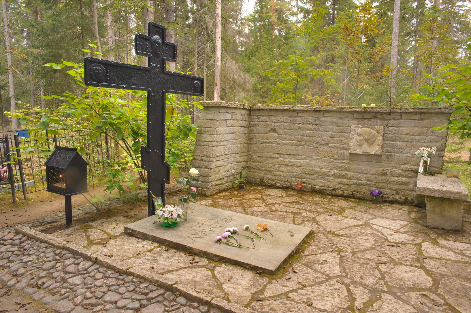 Tomb of a Soviet poet Anna Akhmatova in Komarovo, 25 miles west from St.Petersburg. Russia
