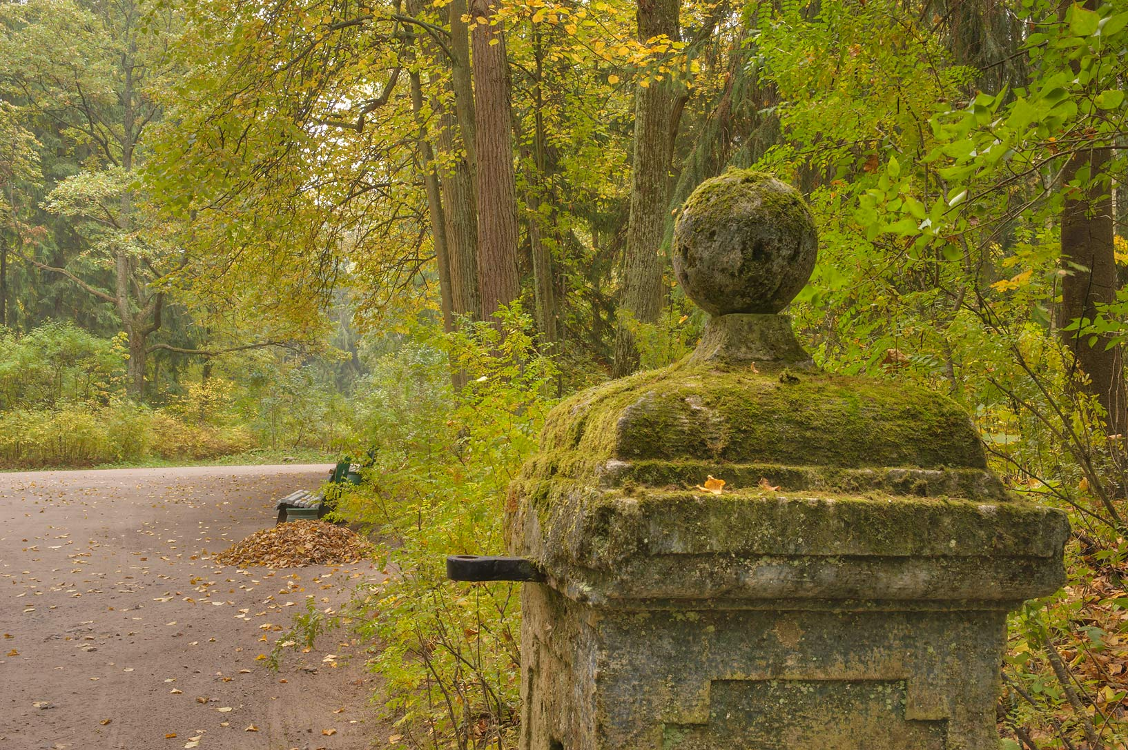 Mossy stone gate of Theatre Alley in Pavlovsk...a suburb of St.Petersburg, Russia