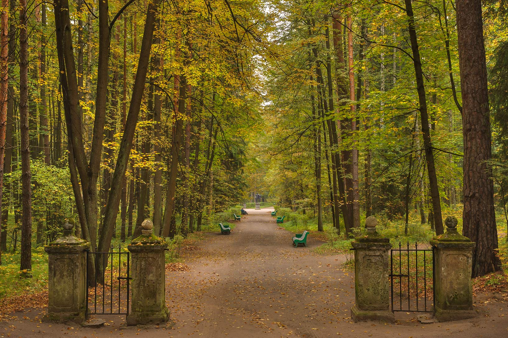 Gates of Theatre Alley in Pavlovsk Park. Pavlovsk, a suburb of St.Petersburg, Russia