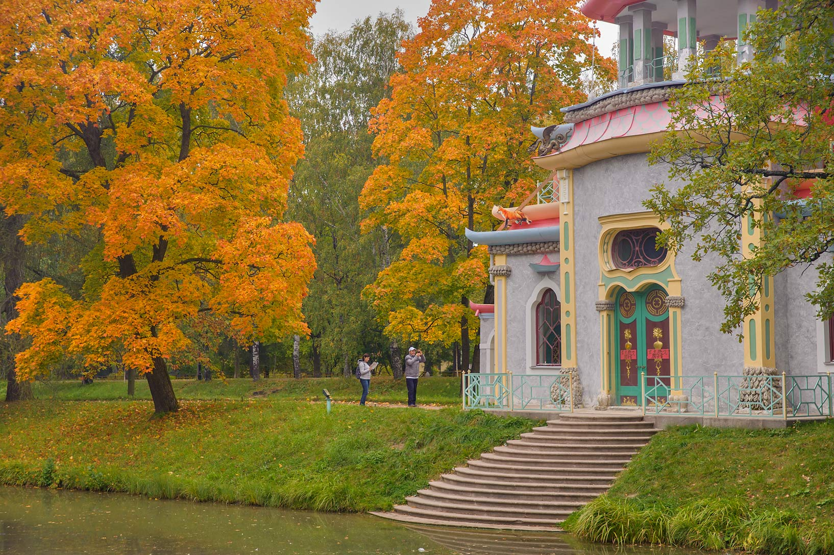 Fall foliage at Upper Ponds in Catherine Park...Selo) near St.Petersburg, Russia