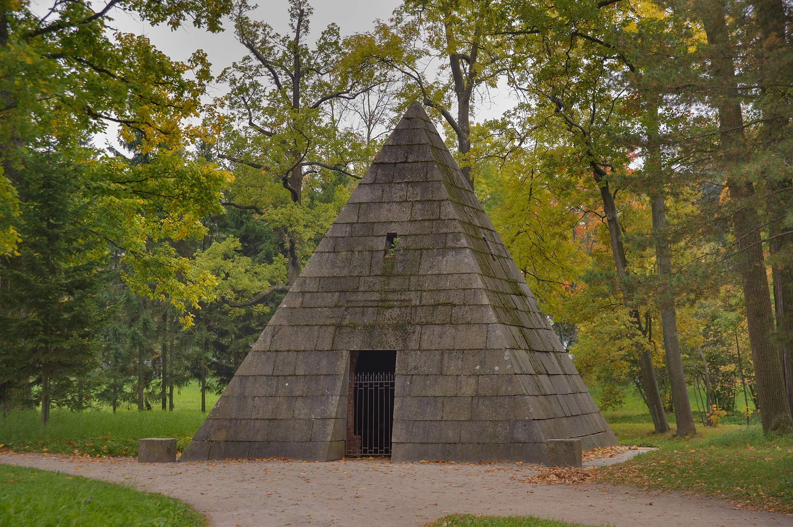 Pyramid (a tomb for greyhounds of Catherine II...Selo) near St.Petersburg, Russia