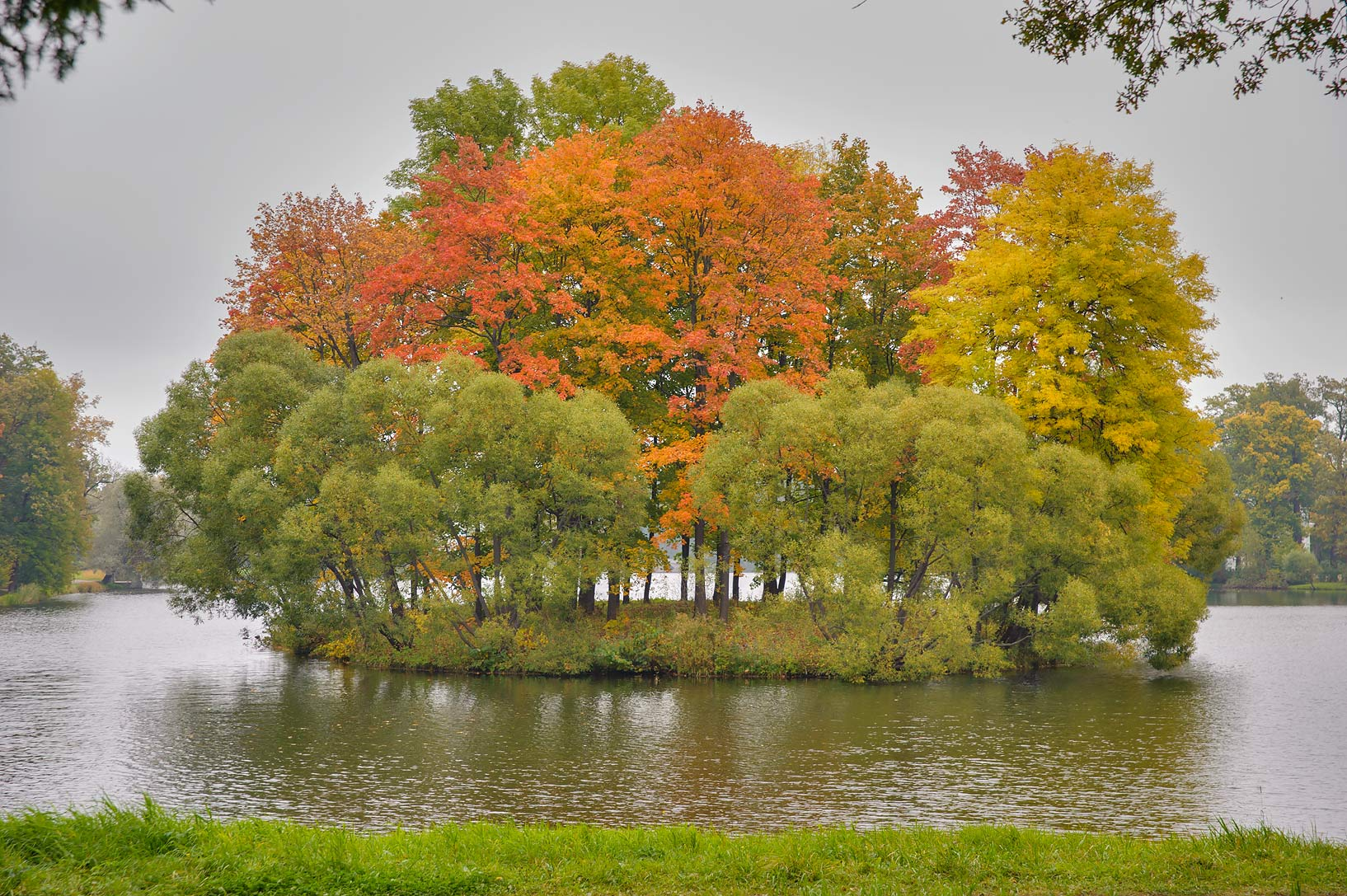 Fall colors of Empty Island of Great Pond in...Selo) near St.Petersburg, Russia