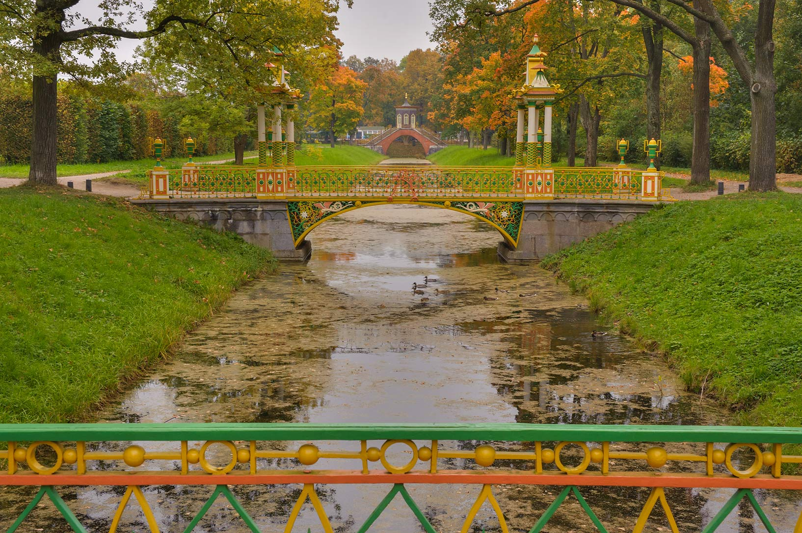 Chinese Bridges of Krestovy Canal in...Selo) near St.Petersburg, Russia