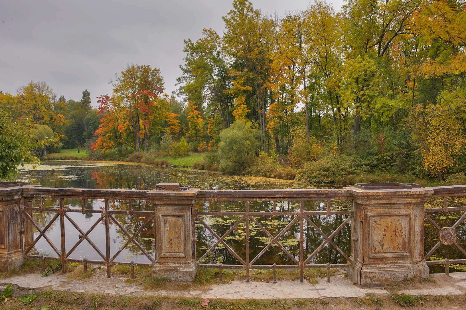 View of Lamsky Pond from Lamsky Bridge in...Selo) near St.Petersburg, Russia