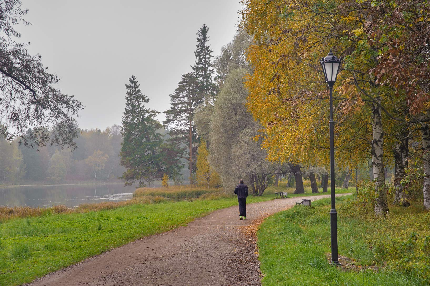Road along north-east shore of Beloe Lake in Gatchina, a suburb of St.Petersburg. Russia