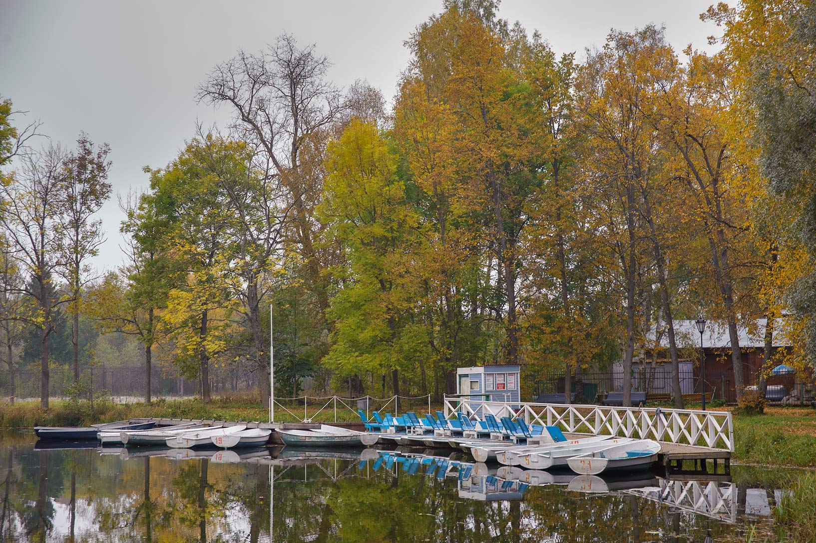 Boat pier on north end of Beloe Lake in Gatchina, a suburb of St.Petersburg. Russia