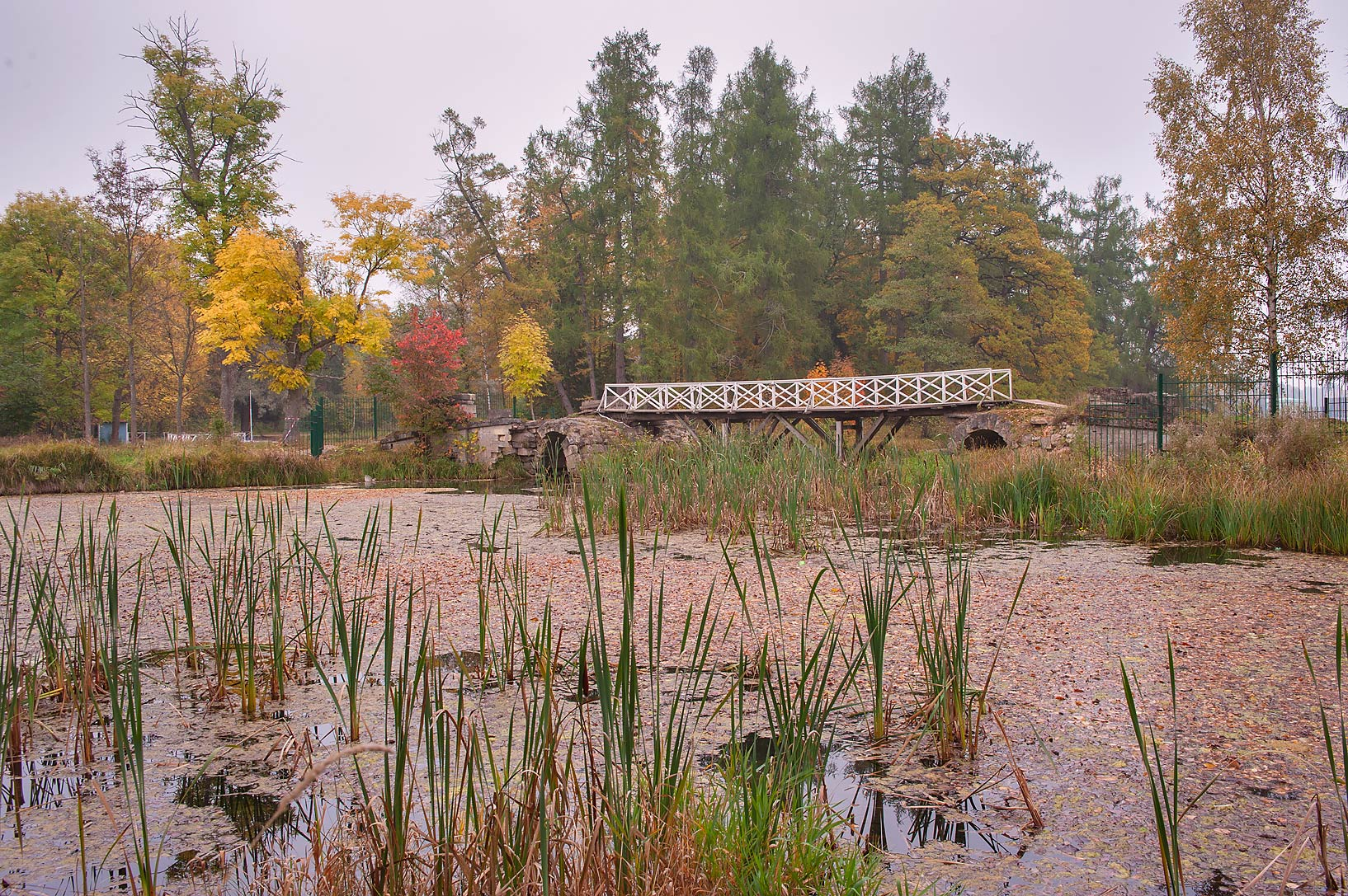 Arch Bridge near north end of Beloe Lake in Gatchina, a suburb of St.Petersburg. Russia
