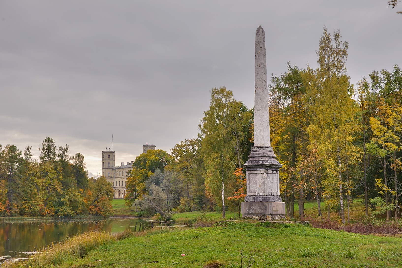 Chesma memorial column on Beloe Lake in Gatchina...a suburb of St.Petersburg. Russia