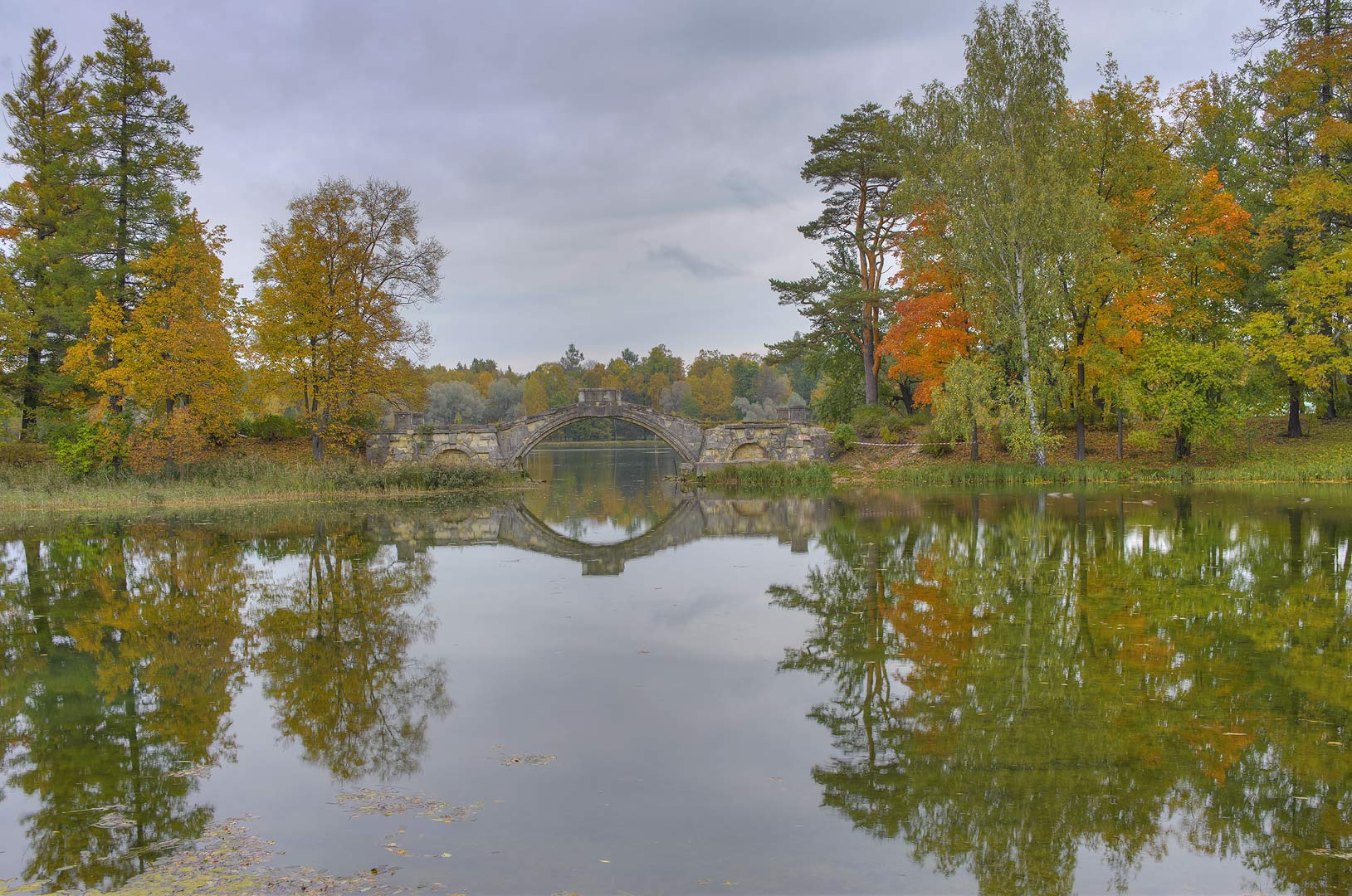 Humpy Bridge in Beloe Lake in Gatchina Park in Gatchina, a suburb of St.Petersburg. Russia