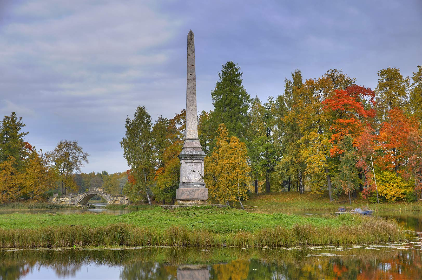 Chesma memorial column in Gatchina Park in Gatchina, a suburb of St.Petersburg. Russia