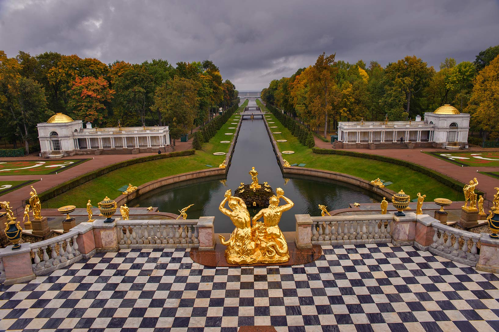 Marine Channel in Lower Garden from terrace of...a suburb of St.Petersburg. Russia