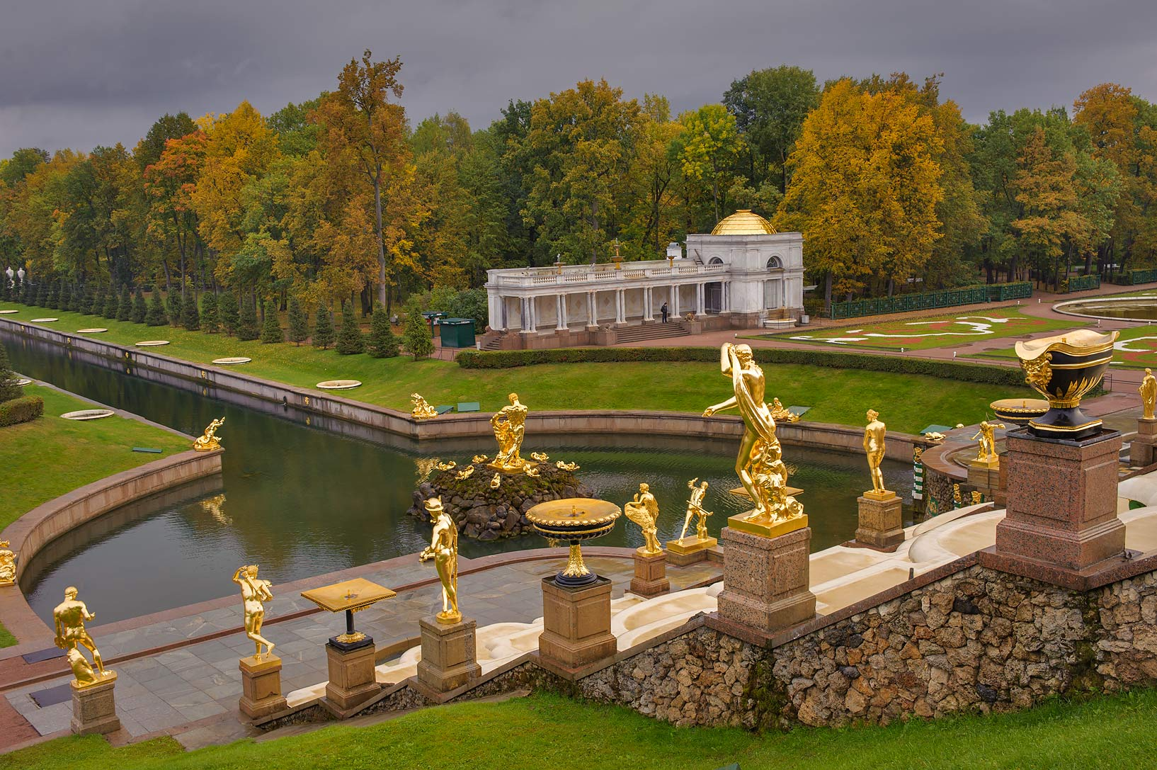 Grand Cascade from terrace of Grand Palace...a suburb of St.Petersburg. Russia