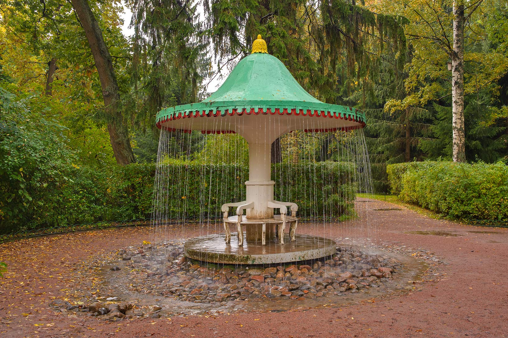 Umbrella Fountain in Lower Gardens. Peterhof...a suburb of St.Petersburg. Russia