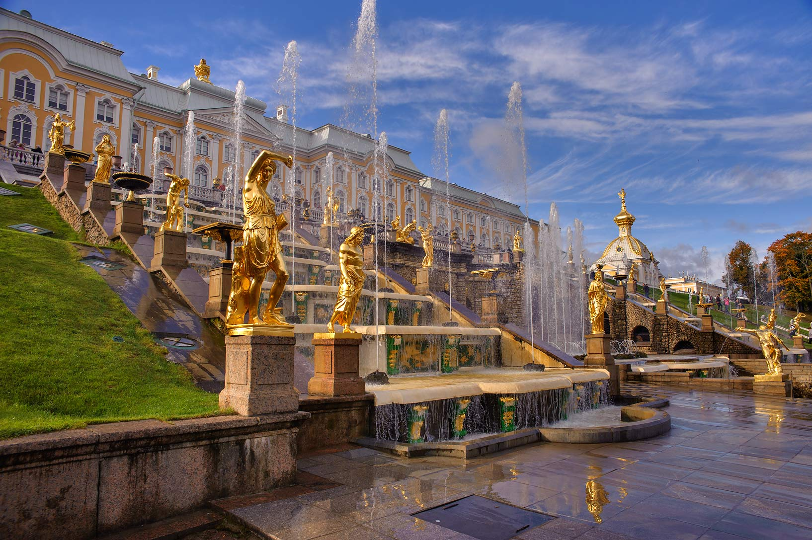 Grand Cascade in Lower Gardens. Peterhof (Petrodvorets), a suburb of St.Petersburg. Russia