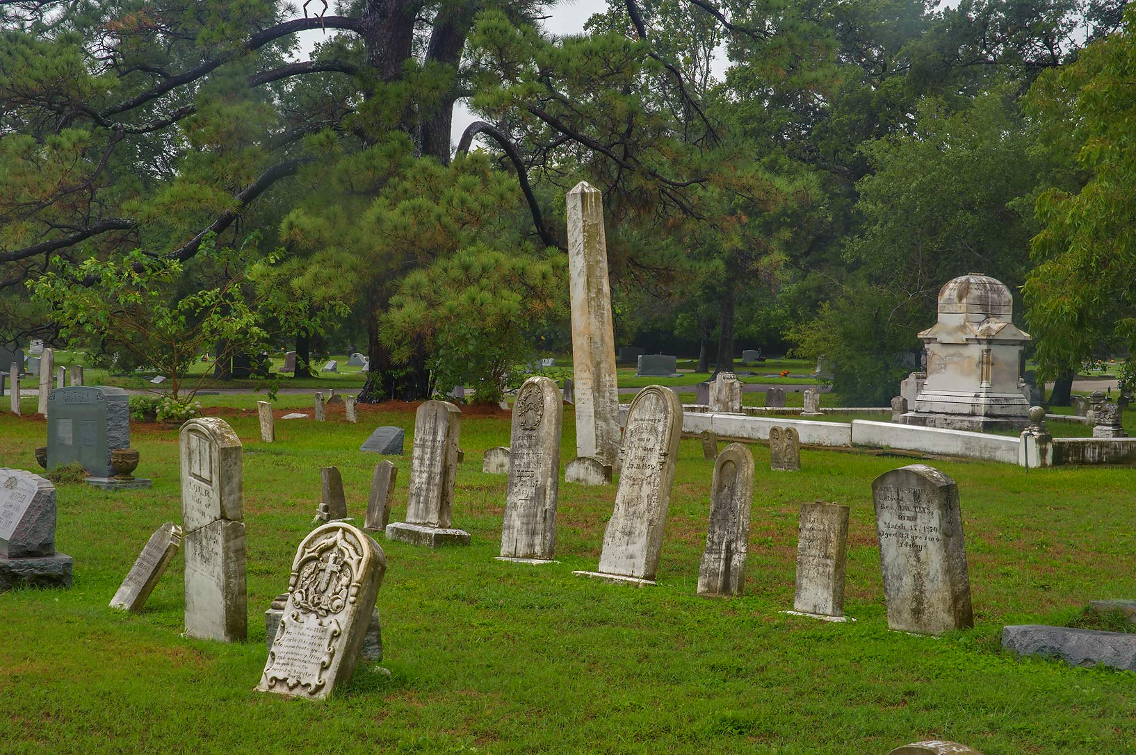 Old tombs in City Cemetery at rain. Bryan, Texas