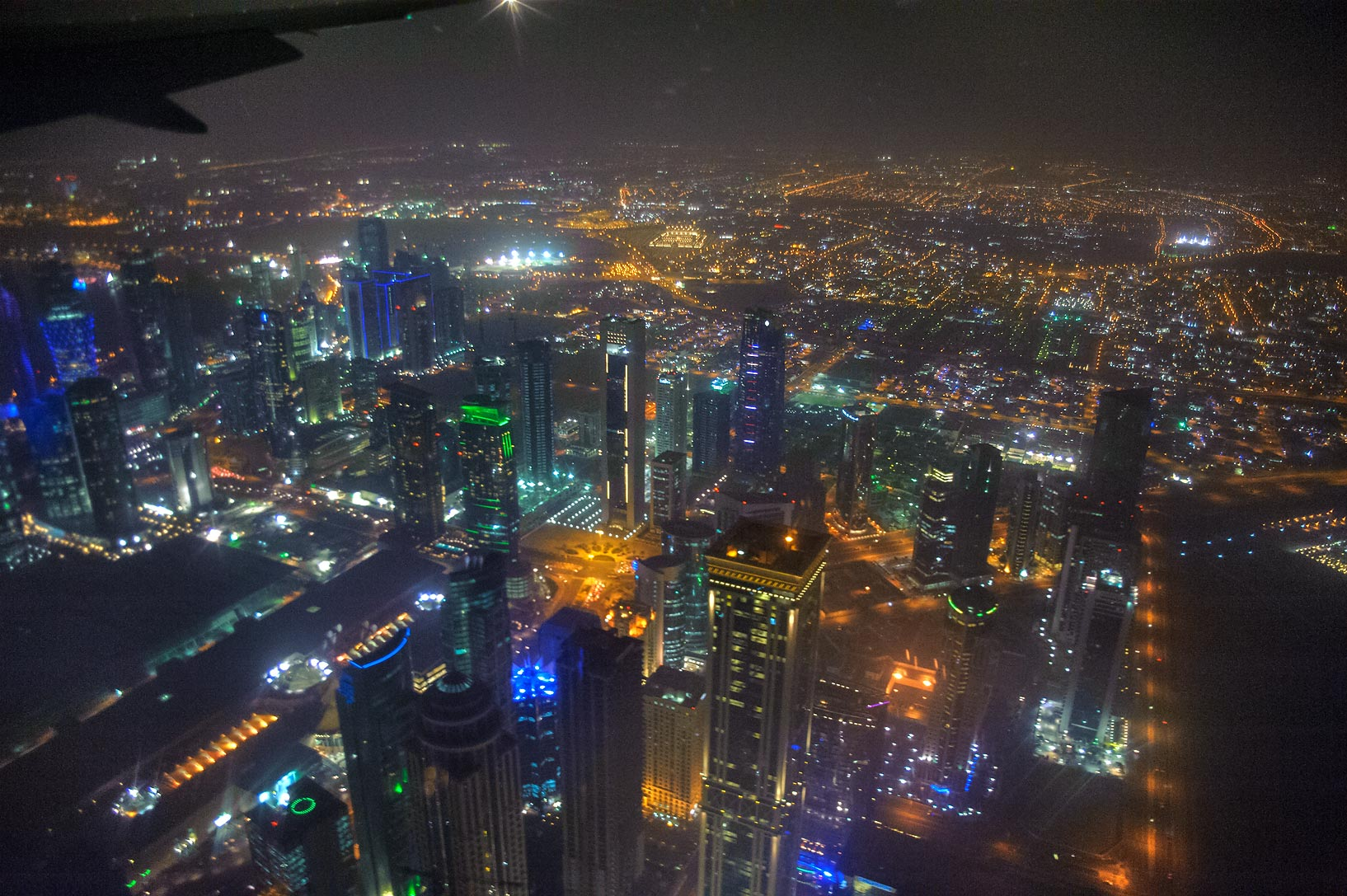 Dafna (West Bay) area of Doha from a window of an airplane. Qatar