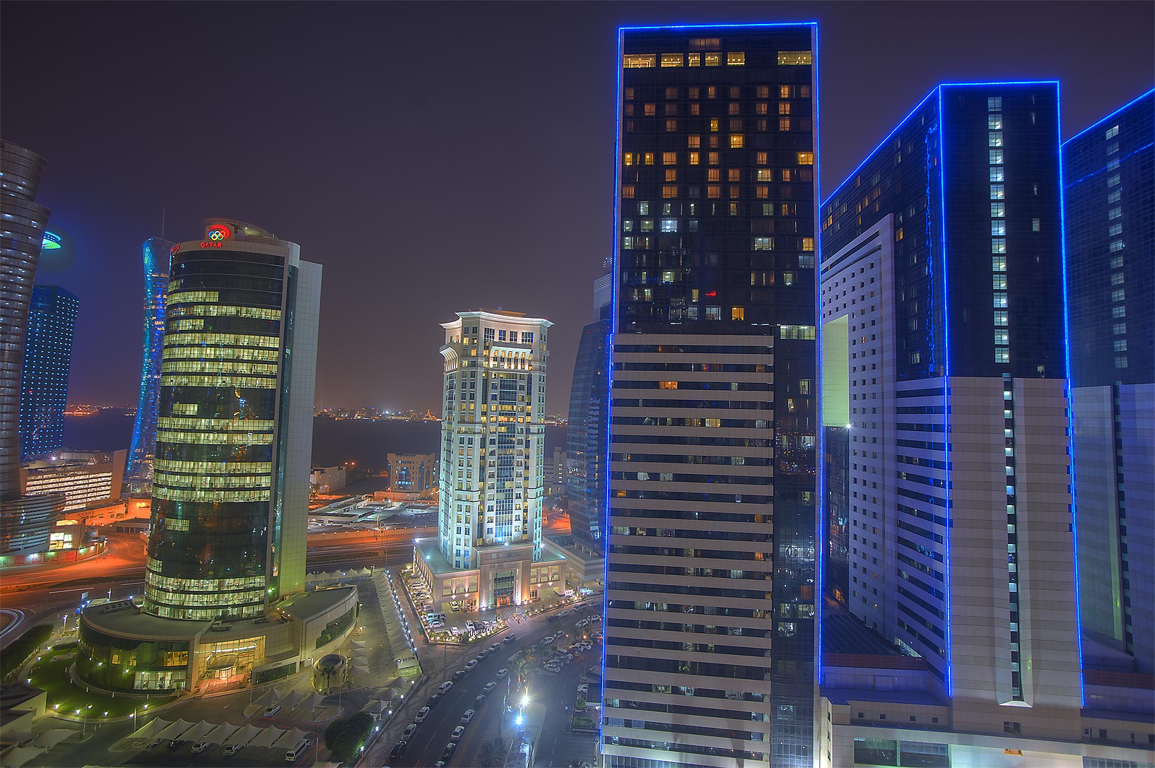 Olympic Tower and Ezdan Hotel in West Bay from Room 1604 of Dareen Tower. Doha, Qatar