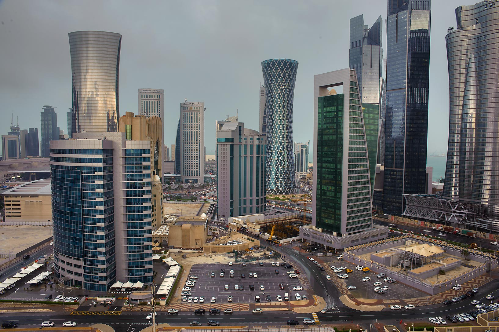 Area of West Bay from Room 1604 of Dareen Tower at rain. Doha, Qatar