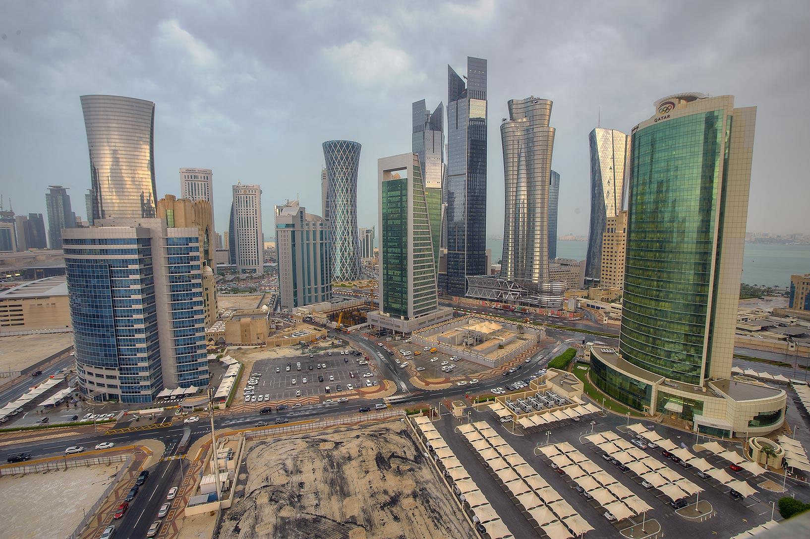 Area of West Bay from Room 1604 of Dareen Tower after a rain. Doha, Qatar
